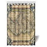 InterestPrint Vintage Decor Shower Curtain, Old Map of Africa Continent Ancient Historic Borders Rustic Manuscript Geography Fabric Bathroom Shower Curtain, 48 X 72 Inches