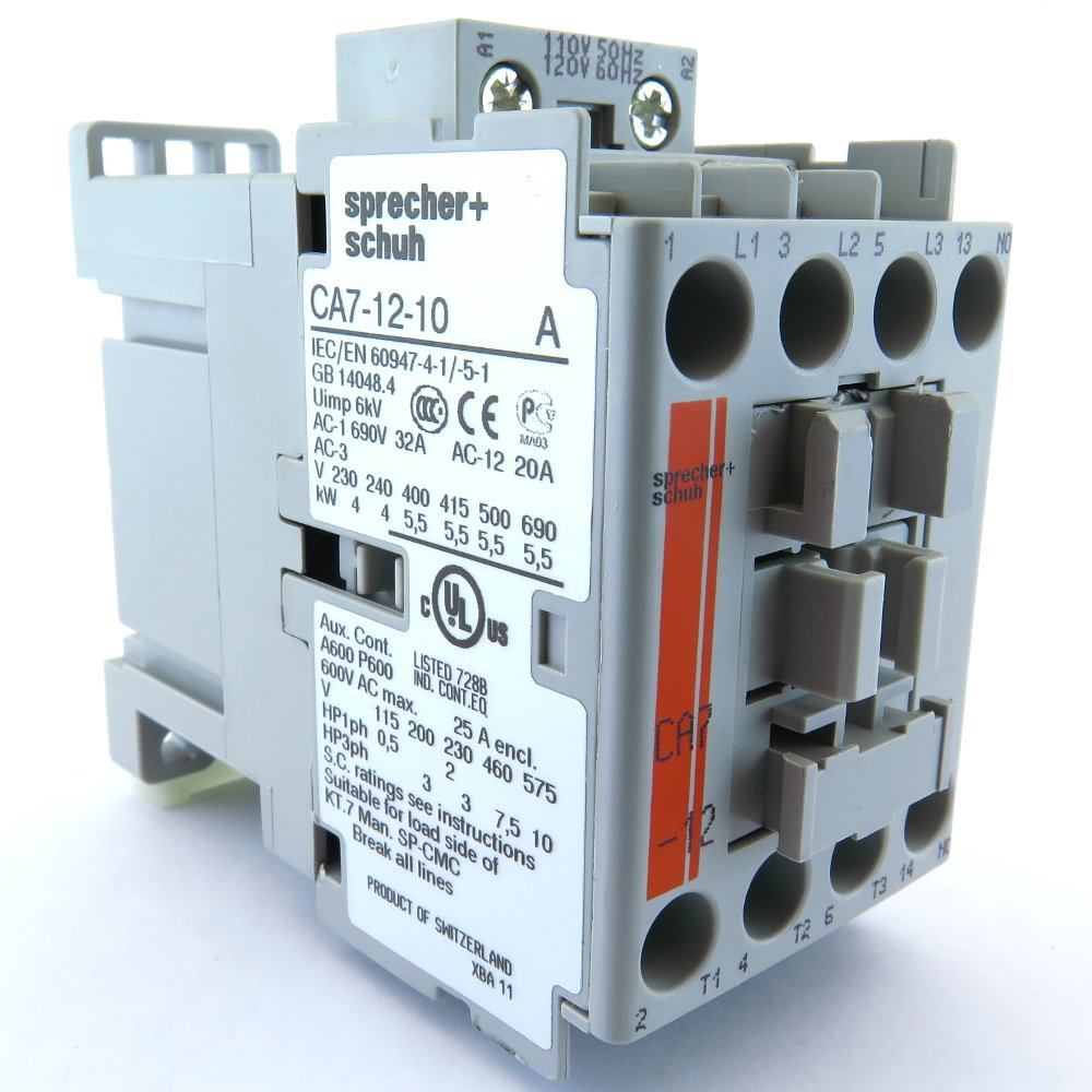 Sprecher & Schuh CA7-12-10-120 Contactor 12Amp 3Pole 110/120V