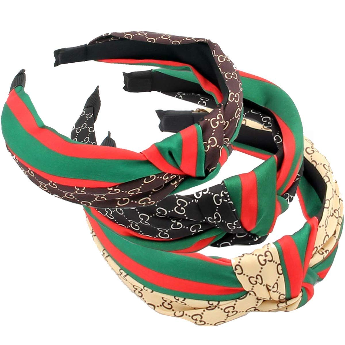 Domoki Designer Red Green Stripe Headbands - 3 Pack Fashion Bow Knot CC Letter Print Hair Hoops for Women - Retro Wide Cross Knot Hairbands with Silk Cloth Wrapped for Girls by Domoki