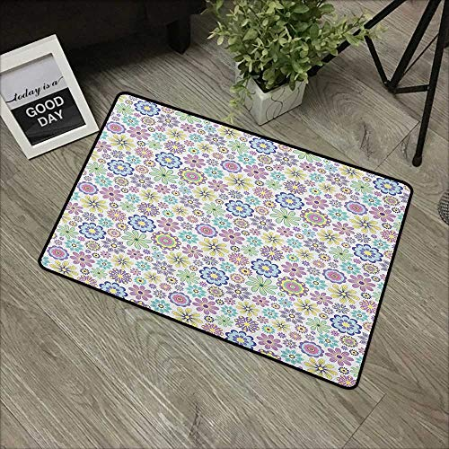 Bathroom mat W24 x L35 INCH Pastel,Cute Ornate Different Kinds of Flowers Colorful Flourish Vintage Field Meadow Yard, Multicolor Our Bottom is Non-Slip and Will not let The Baby Slip,Door Mat Carpet