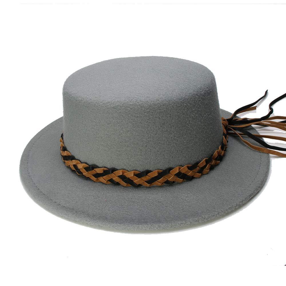 906e41e46f7 Sun Hats- Black Wool Wide Brim Bowler Trilby Fedora Hat for Women Plain  Flat Lady Felt Hat Vintage (Color   Gray