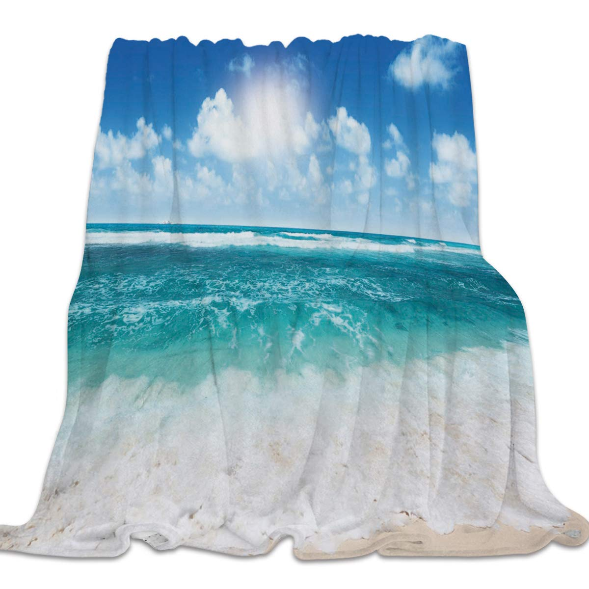 Beach5cly7478 59x79inch=150x200cm Clouday Flannel Fleece Bed Blanket Warm ThrowBlankets for Girls Boys,Cozy Lightweight Blankets for Bedroom Living Room Sofa Couch,Beautiful Universe Pattern,49x59inch
