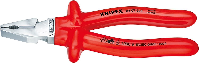 VDE-gepr/üft 200 mm KNIPEX 02 07 200 Kraft-Kombizange verchromt tauchisoliert
