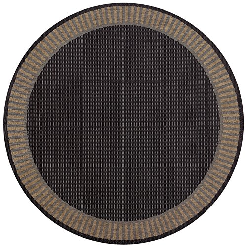 Couristan Recife 1681/2000 Wicker Round Rug, 7-Feet 6-Inch, Stitch/Black/Cocoa
