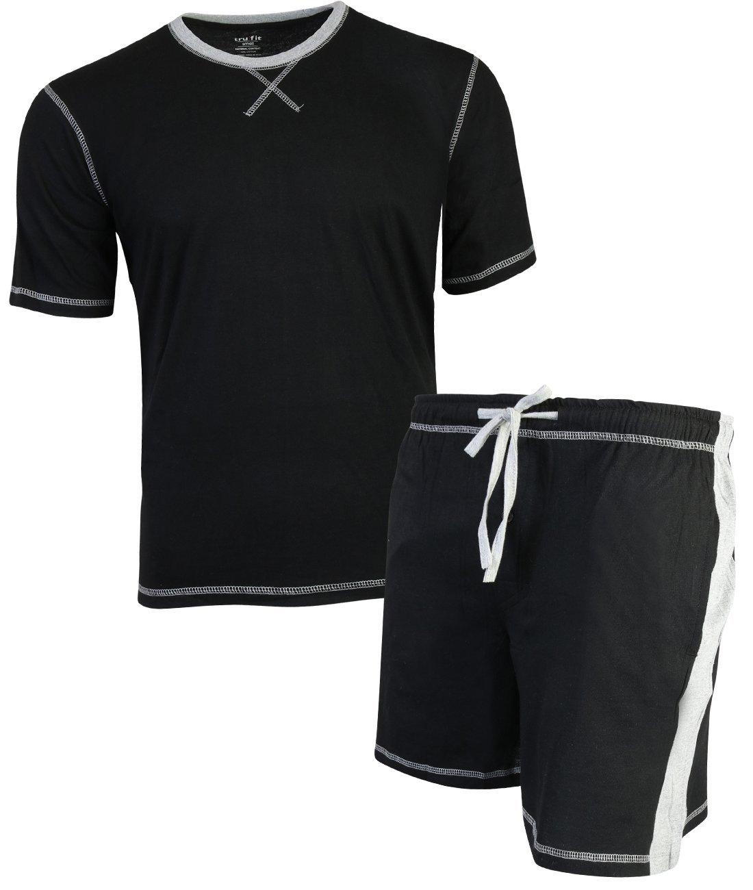 TruFit Men's 2-Piece Summer Short Sleeve Shirt and Shorts Pajama Set, Black, X-Large'