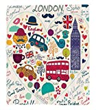 Chaoran 1 Fleece Blanket on Amazon Super Silky Soft All Season Super Plush London Decor Collection Colorfulet ofymbols Bus Big Ben Tea Umbrella Hat Retro Cab Fit in a Heart Picture Fabric Red Pink Pur