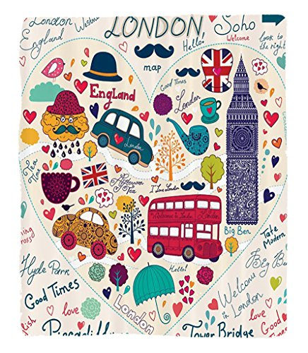 Chaoran 1 Fleece Blanket on Amazon Super Silky Soft All Season Super Plush London Decor Collection Colorfulet ofymbols Bus Big Ben Tea Umbrella Hat Retro Cab Fit in a Heart Picture Fabric Red Pink Pur by chaoran