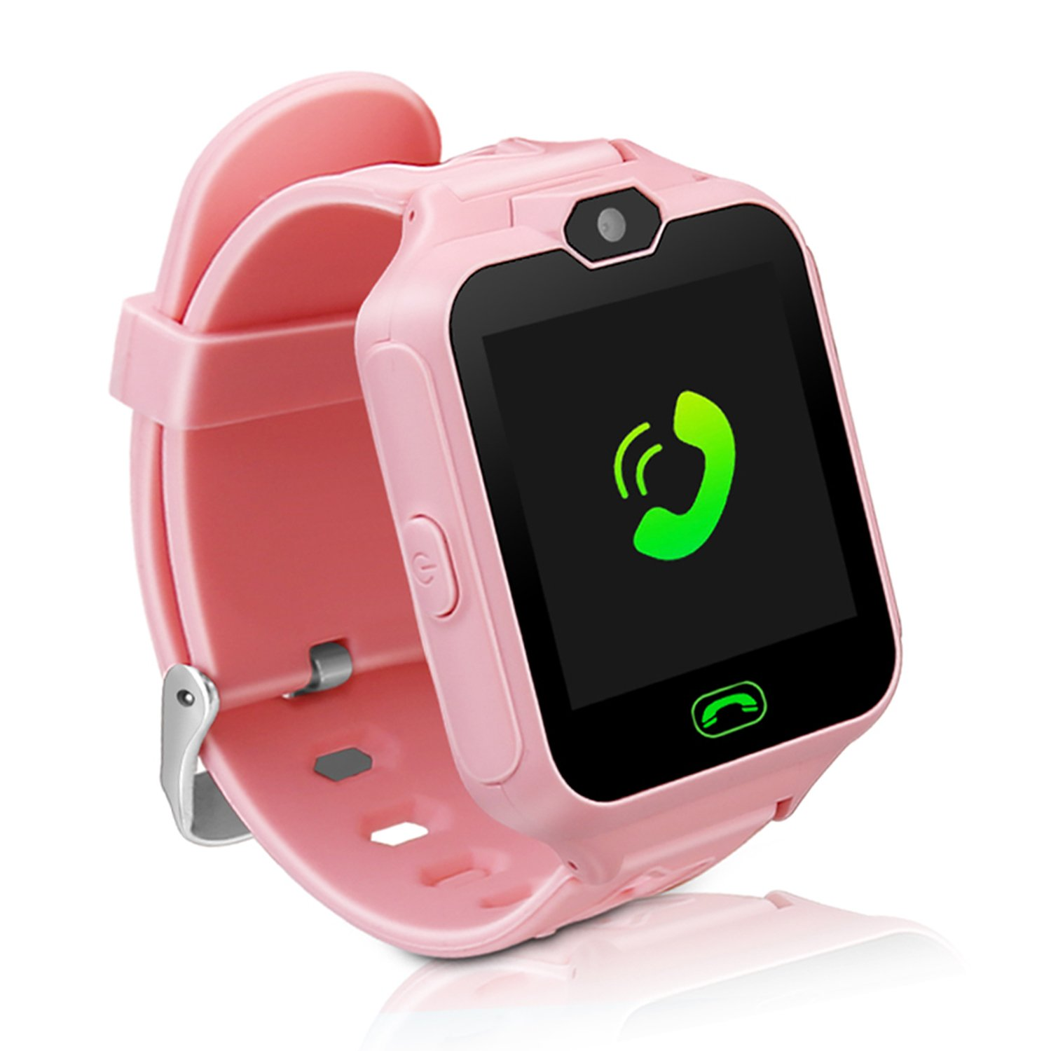 Kids Smart Watch Phone,Unlocked Waterproof Smart Phone Watch for Girls Boys with Camera Games Touchscreen,Children SOS Cell Phone Watch with SIM and SD Slot,Perfect Holiday Birthday Gifts(Pink) by MIMLI (Image #1)
