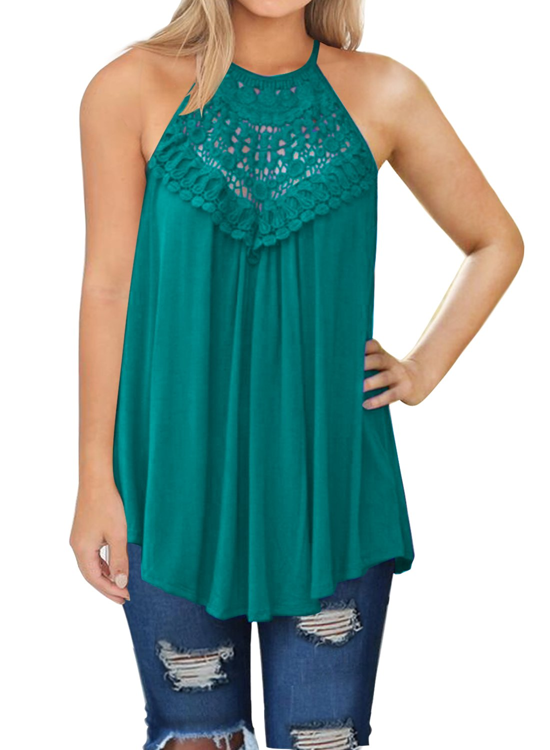 MIHOLL Womens Summer Casual Sleeveless Tops Lace Flowy Loose Shirts Tank Tops (Lake Blue, Large)