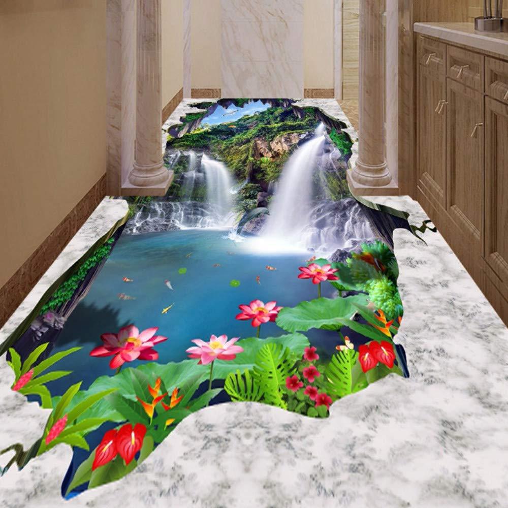 ... Self Adhesive Floor Sticker Custom Photo Wallpaper 3D Blue Sky White Clouds Waterfalls Lotus Bathroom Kitchen 3D Floor Mural-150X120Cm: Kitchen & Dining