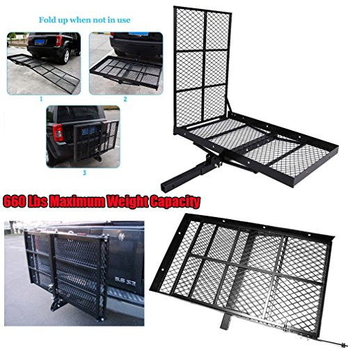 Coldcedar Folding Hitch Carrier Electric Wheelchair Mobility and Equipment Scooter Cargo Carrier with Ramp 660 Lbs (Scooter Mobility Carrier Rack Ramp)