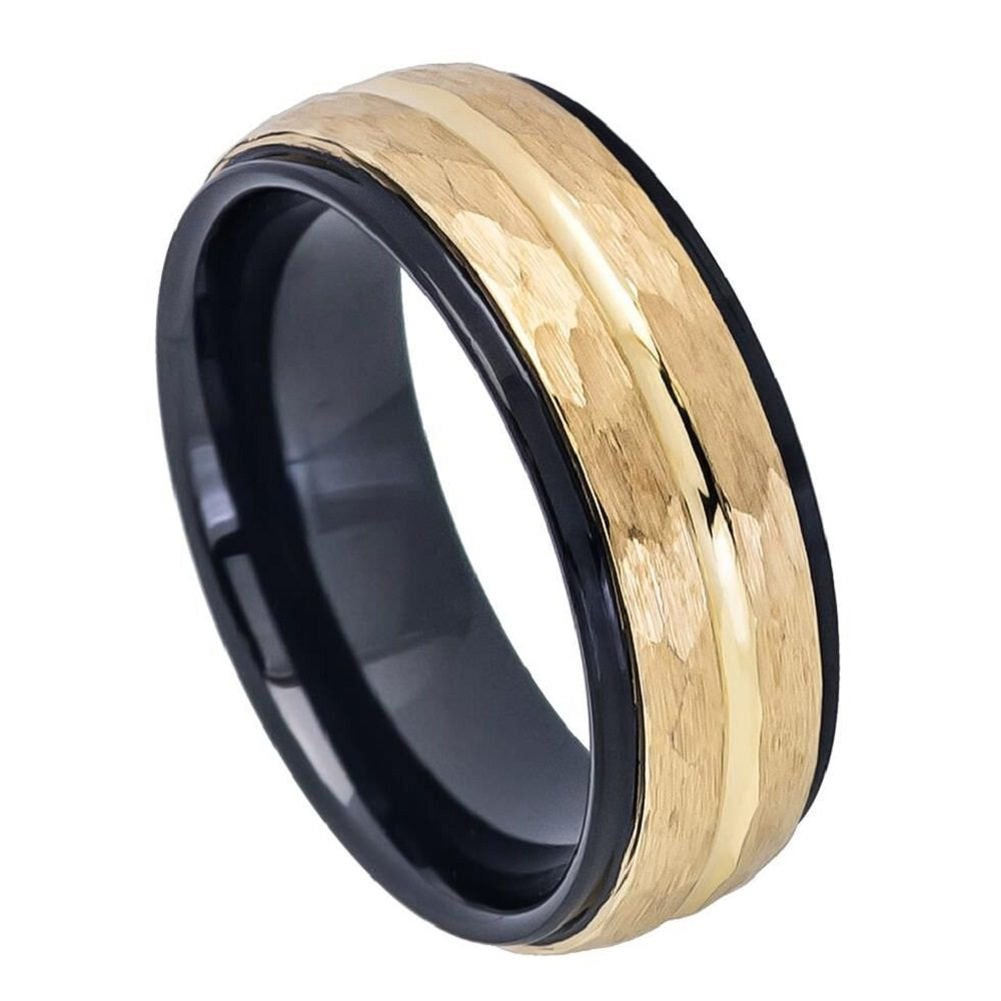 Tungsten Carbide 8mm Two-tone Black IP Inside Yellow Gold IP Hammered Finish with Center Groove Stepped Edge Wedding Band Ring