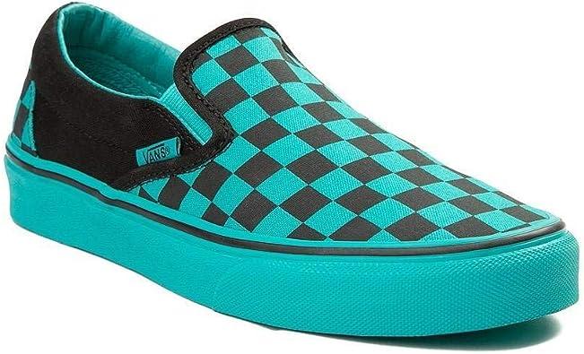 vans slip on chex skate shoe blue \u003e Up