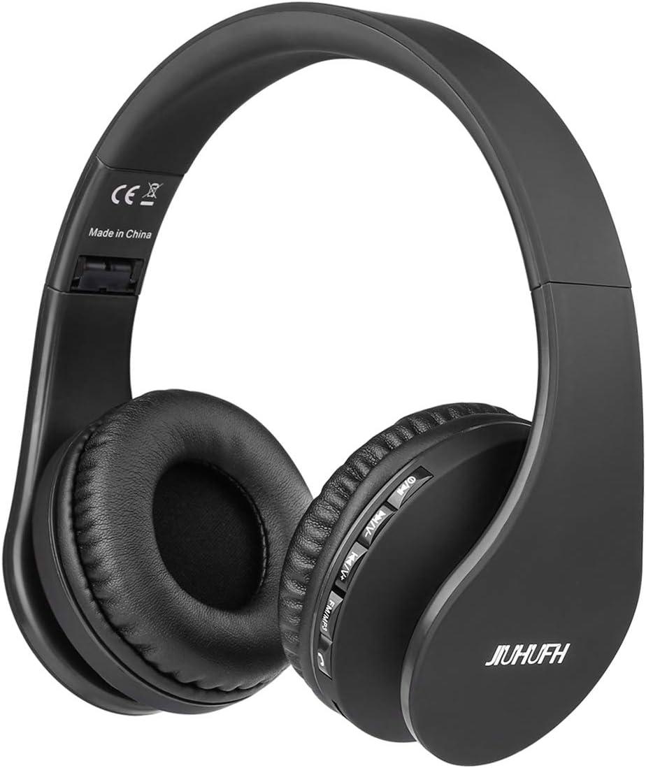 JIUHUFH Auriculares Bluetooth con Micrófono Incorporado/Reproductor de MP3 / Radio FM/Manos Libres para Teléfonos Celulares (Negro)