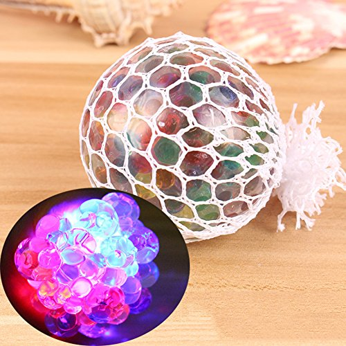 Gilroy Squishy Mesh Balls LED Grape Shape Stress Ball Squeeze Stress Reliever Novelty Vent Toy for Kids and Adults