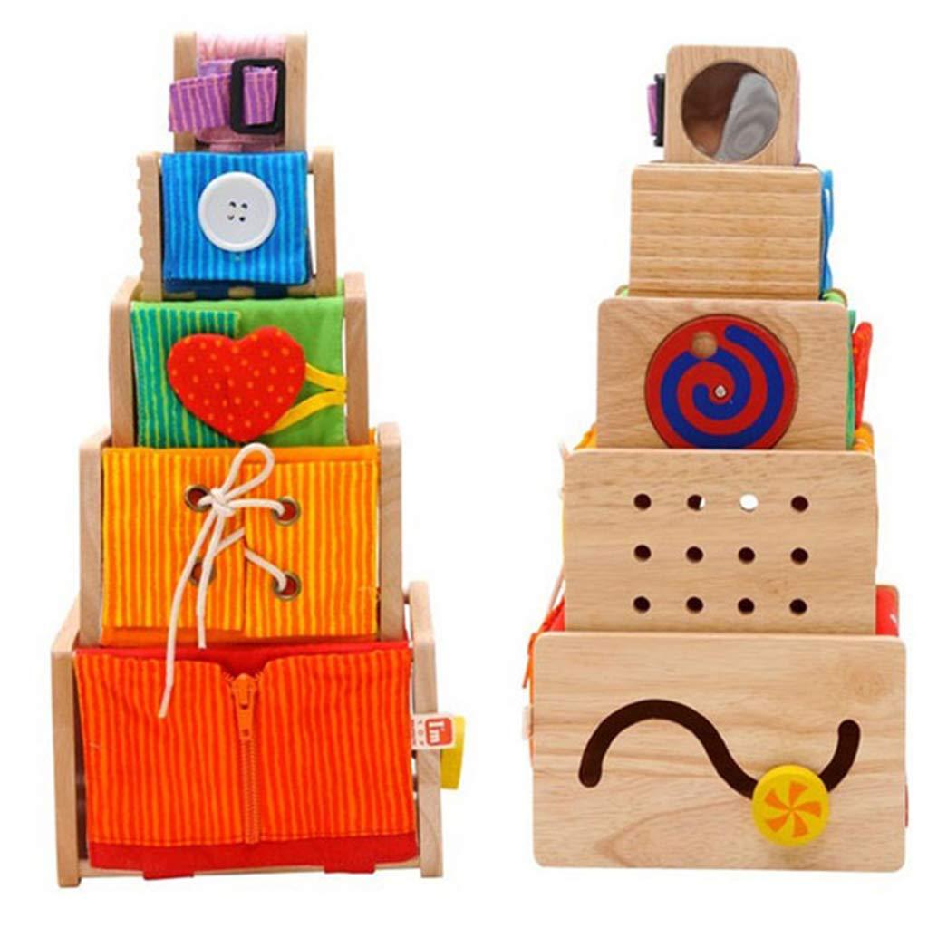 F Fityle Motorikspielzeug Motorikw/ürfel Holzspielzeug Stapelw/ürfel Stapelspiel ab 1 Jahr Geburtstagsgeschenk