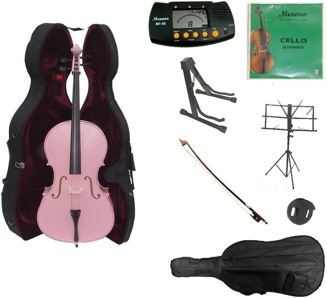 Bag and Bow+2 Sets of Strings+Cello Stand+Music Stand+Metro Tuner+Mute+Rosin Merano 3//4 Size Cello with Hard Case