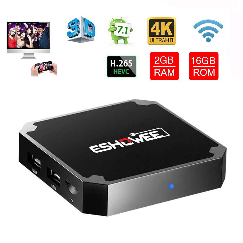ESHOWEE X96 Mini Android 7 1 TV Box Amlogic S905W Quad-core 64 Bit DDR3 2GB  16GB 4K UHD WiFi & LAN VP9 DLNA H 265
