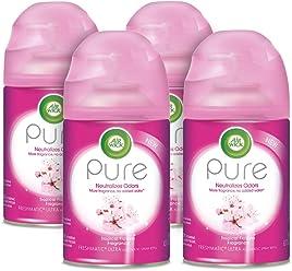 Air Wick Pure Freshmatic 4 Refills Automatic Spray, Tropical Flowers, (4X6.17oz), Air Freshener
