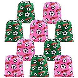 Soccer Party Supplies Favors Bags Drawstring Gifts Bags 10 Pack