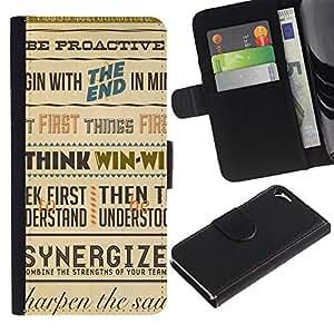"""Apple iPhone 5 / iPhone 5S , la tarjeta de Crédito Slots PU Funda de cuero Monedero caso cubierta de piel ("""" Synergy Think Win Retro Poster Inspiring"""")"""