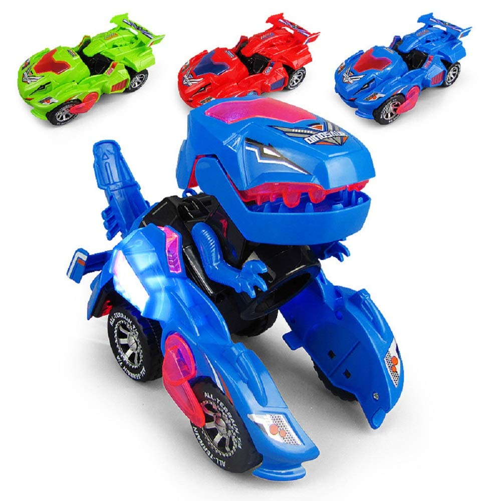 Green Automatic Deformation Dinosaur Toy with Light and Sound for Kids 3 Years WenFeng Transforming Dinosaur LED Car
