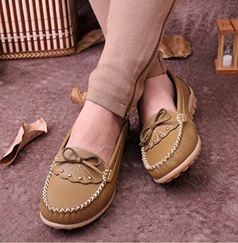 Summerwhisper Da Donna Dolce Bowknot Low-cut Mocassini Da Barca Comodi Larghi Mocassini In Pelle Color Kaki