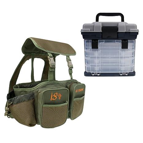monkeyjack Handheld 4 bandeja caja de aparejos de pesca rígida con ...