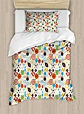 Ambesonne Sport Duvet Cover Set Twin Size, Abstract Elements of Physical Activities Healthy Volleyball Soccer Recreation Themed, Decorative 2 Piece Bedding Set with 1 Pillow Sham, Multicolor