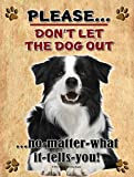 Border Collie - Don't Let The Dog Out... - New 9X12 Realistic Pet Image Aluminum Metal Outdoor Dog Pet Sign. Will Not Rust!