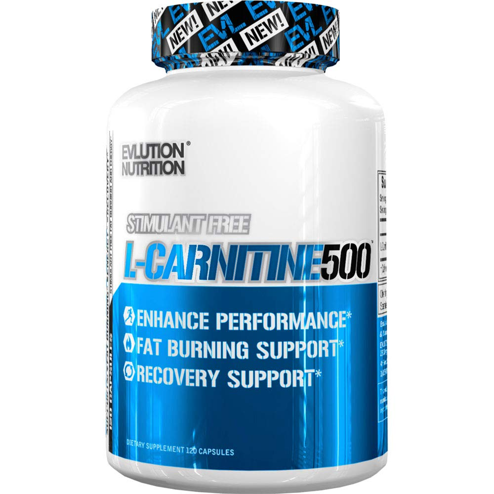 Evlution Nutrition L-Carnitine500, 500 mg of Pure L Carnitine in Each Serving, Stimulant-Free, Capsules (120 Servings) by Evlution