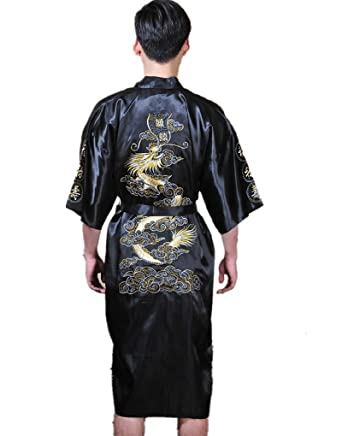 UK Stock Black Silk Bath Robe Kimono Gown Dragon Embroidery Yukata Hakma  Vintage Fast Delivery Next Day Dispatch