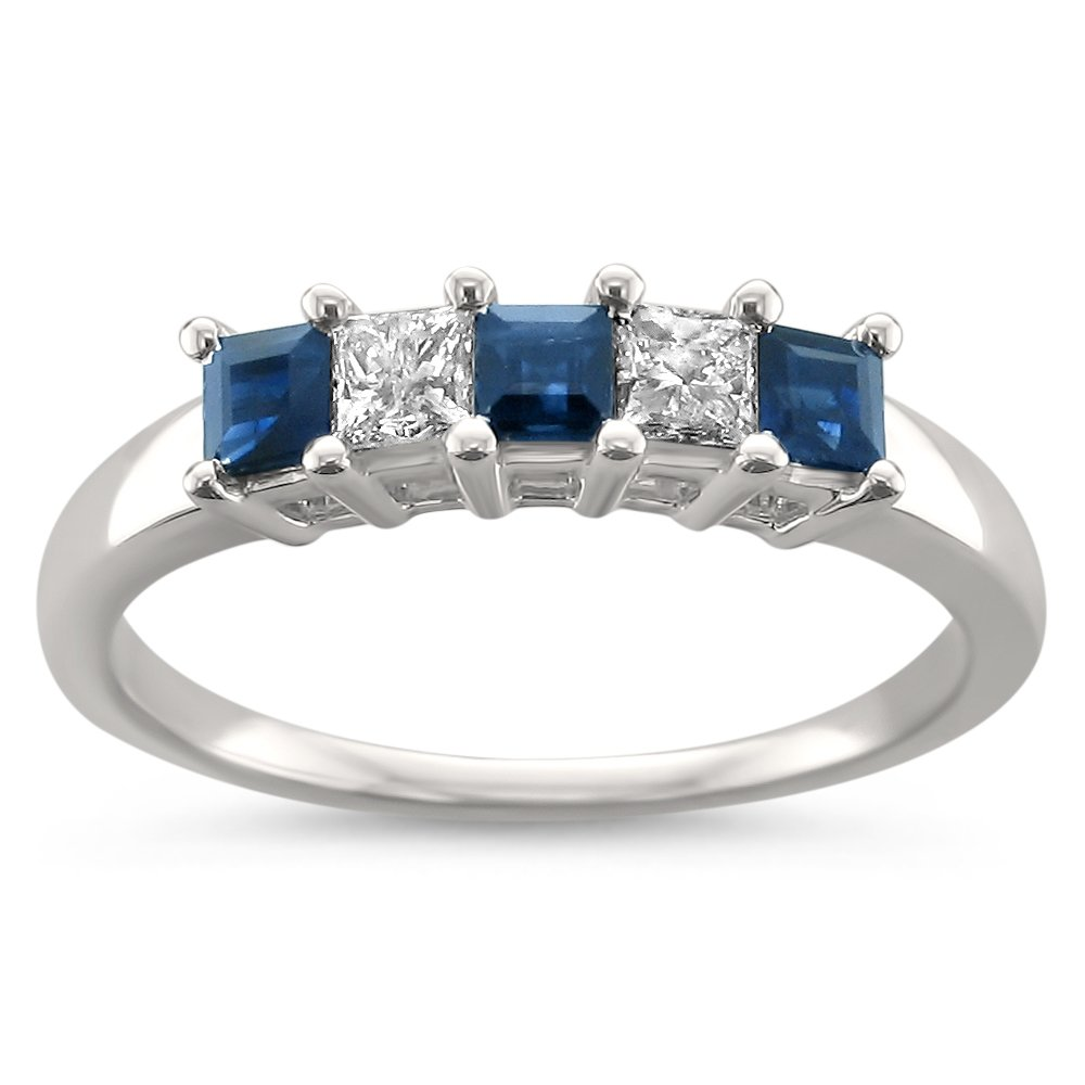 La4ve Diamonds 14k White Gold Princess-Cut Diamond & Blue Sapphire Bridal Wedding Band Ring (1/2 cttw, H-I, I2-I3), Size 7.5