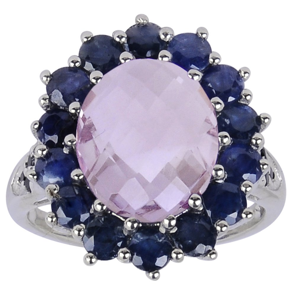 Oval Shaped Checkerboard Pink Amethyst, Sapphire and Spinel 925 Sterling Silver Ring for Women, February Birthstone, Perfect for Engagement, Anniversary, Free Gift Box (6.62 Cttw, 12x10 MM Oval) by Orchid Jewelry (Image #1)