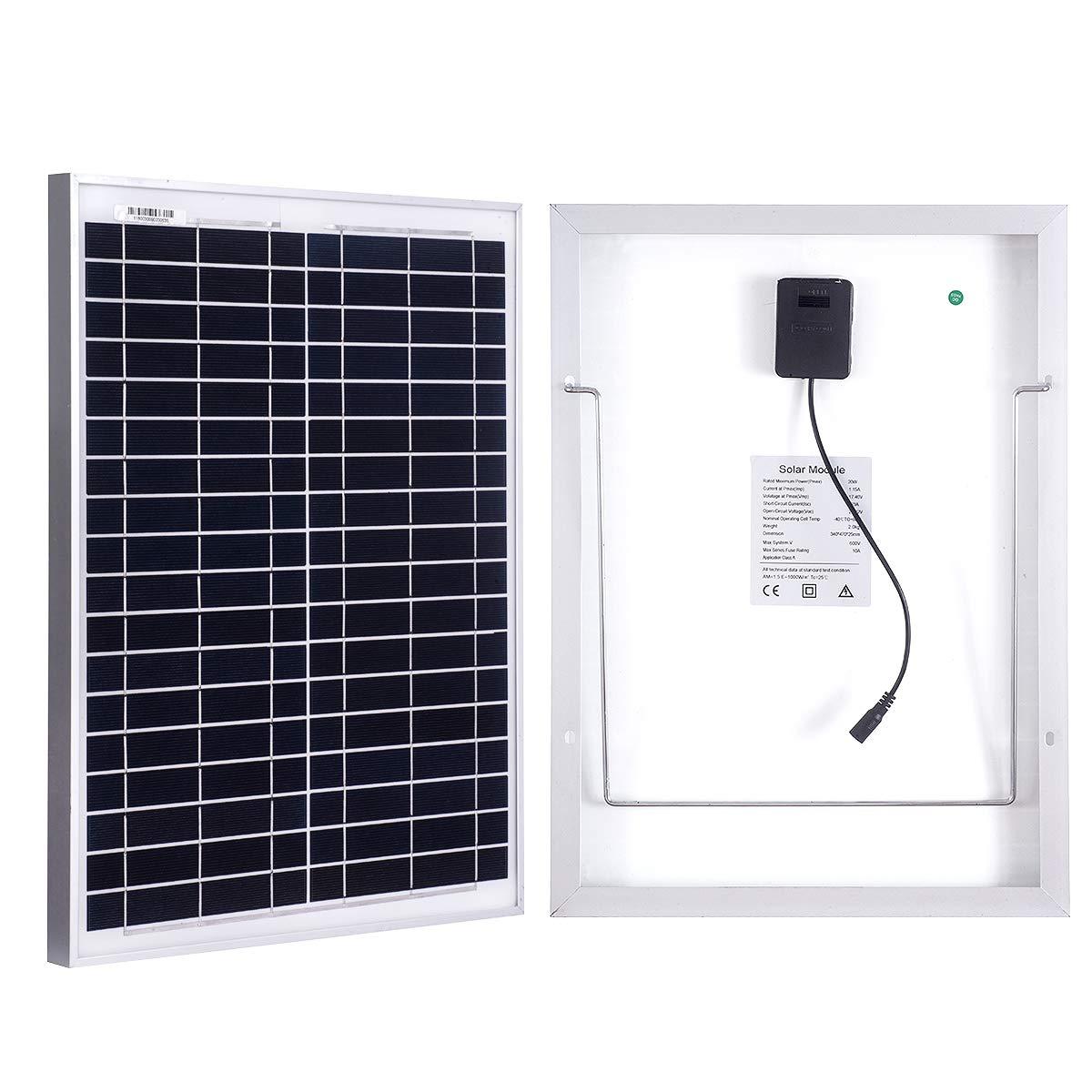 MEGSUN 20W Monocrystalline Solar Panel 12V Battery Charging High Efficiency Suitable for Battery Charging, Module Off Grid Charging RV Boat, Caravan, RV, etc.