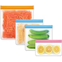 4 Pcs Reusable Storage Bags, 1 Reusable Freezer Gallon Bags+ 2 Reusable Sandwich Bags+ 1 Thick Reusable Snack Bags…