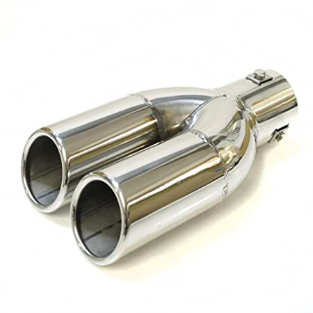 Boloromo YFX-0040 Universal doppelt Sport Auto Auspuffblende Auspuff Endrohr Stahl Edelstahl 43-57mm /Ø Chrom