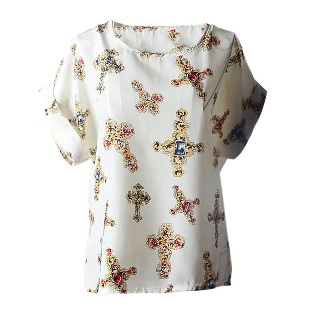 Amazon.com: DondPO Womens Short Sleeve T-Shirt Print Tropical Chiffon Shirtt Tops Ladies Blouse Summer Clothes: Clothing