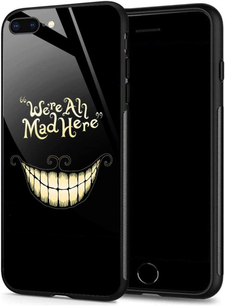 PROEVER iPhone 8 Plus case,iPhone 7 Plus case,Slim Fit Tempered Glass Back Design Shock Absorption Bumper TPU Protective Cover Phone Case for iPhone 7/8 Plus - Cute Smile Face