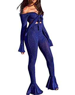 146176e3579d Mycherish Women's 2 Pieces Outfit Off Shoulder Tie Front Bandeau Tops Wide  Leg Long Pants Set