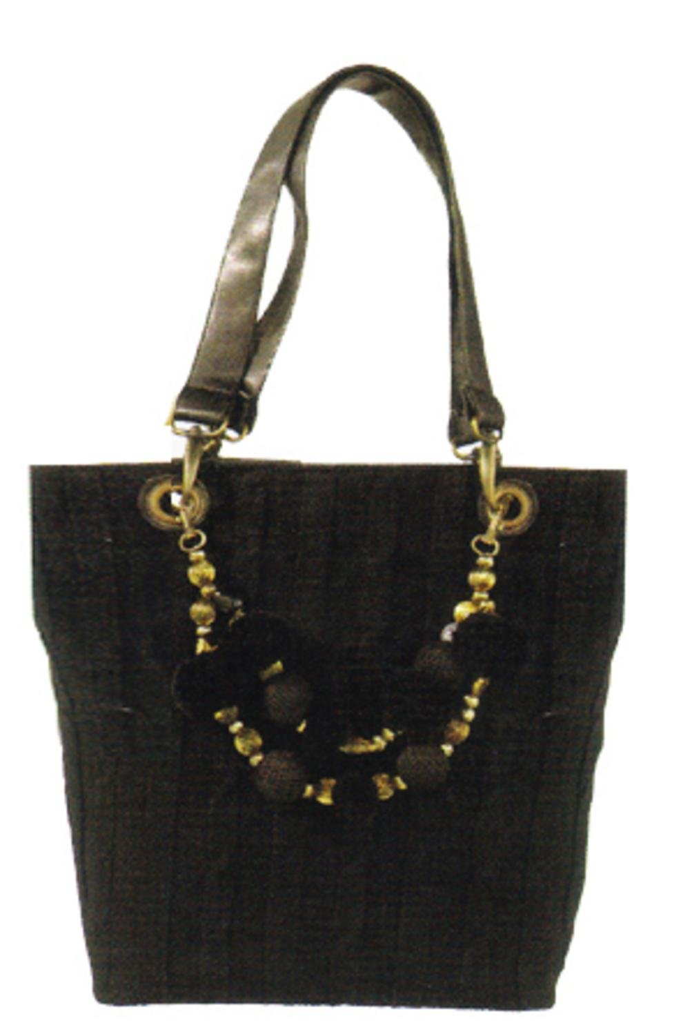 Ganz Maggi B Soft Touch Black Cable Knit Shopper Tote Bag