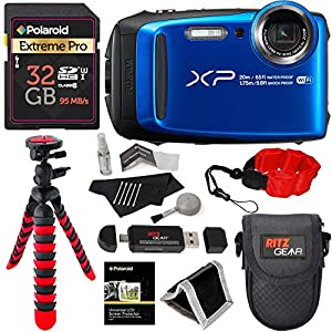 Fujifilm FinePix XP120 Waterproof Digital Camera - Blue, Polaroid 32GB SD Memory Card, Ritz Gear Flexi Tripod, Ritz Gear Point and Shoot Camera Case, Floating Strap, Cleaning Kit and Accessory Bundle