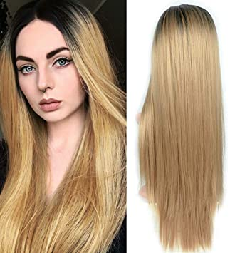 Amazon.com   Fani Long Straight Blonde Wig Black Roots Ombre Wigs Full Wigs  Heat Resistant Synthetic Wigs for Women with Free Wig Cap (1B 27)   Beauty 478610a2ef