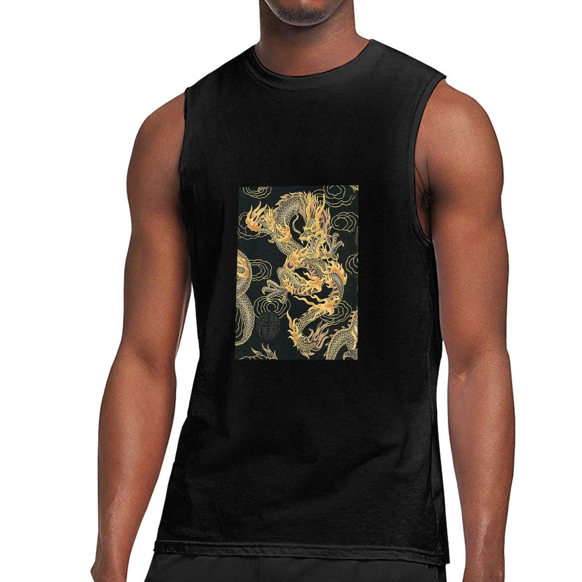 S Sleeveless T Shirts Chinese Dragon Workout Tank Tops Gym Bodybuilding Tshirts Black