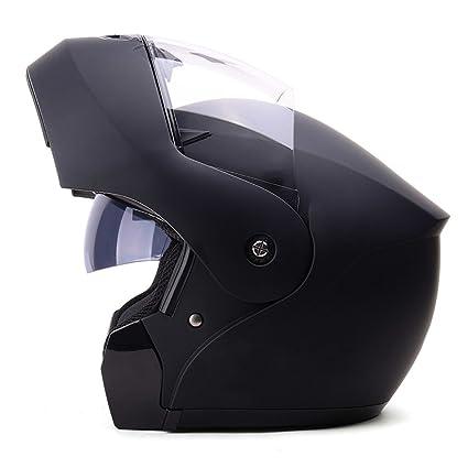 Casco De Moto Negro Casco De Cara Completa Casco De Verano Respirable Para Hombres Lente Doble