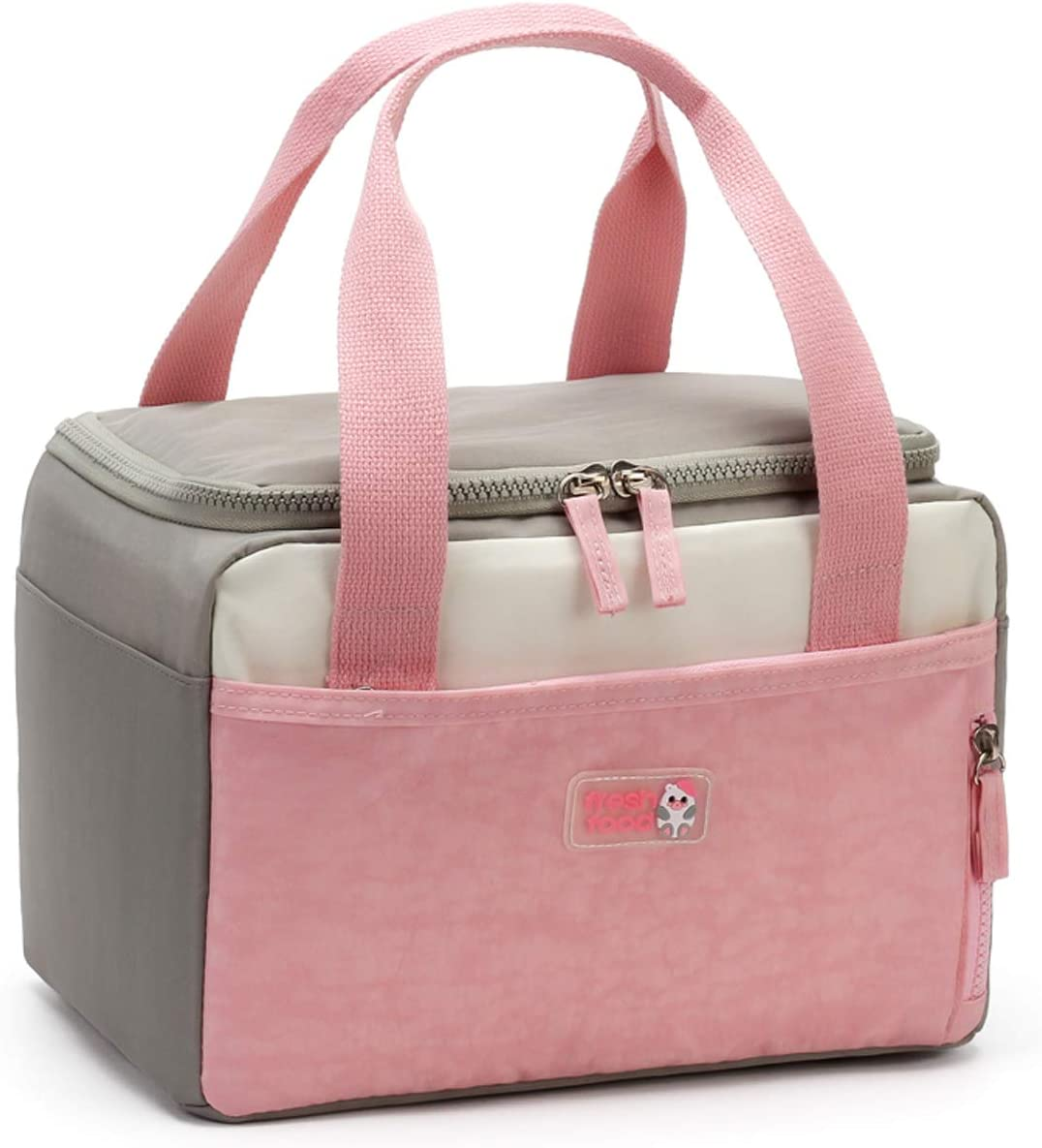 Women's/Men's Insulated Lunch Bag-Office School Outdoor Picnic Beach Reusable Heat And Fresh Lunch Box-Leakproof Cool Tote Bag-Pink