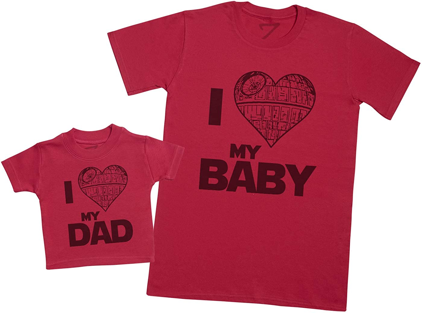 I Love My Dad /& I Love My Baby Heart Star Matching Father Baby Gift Set Mens T Shirt /& Baby T-Shirt