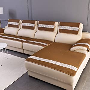 ALIPC Jacquard No-Slip Sofa Cover,Breathable Combination Couch Cover Soft Durable Furniture Protector Decoration Sofa Slipcover Brown 50x150cm(20x59inch)