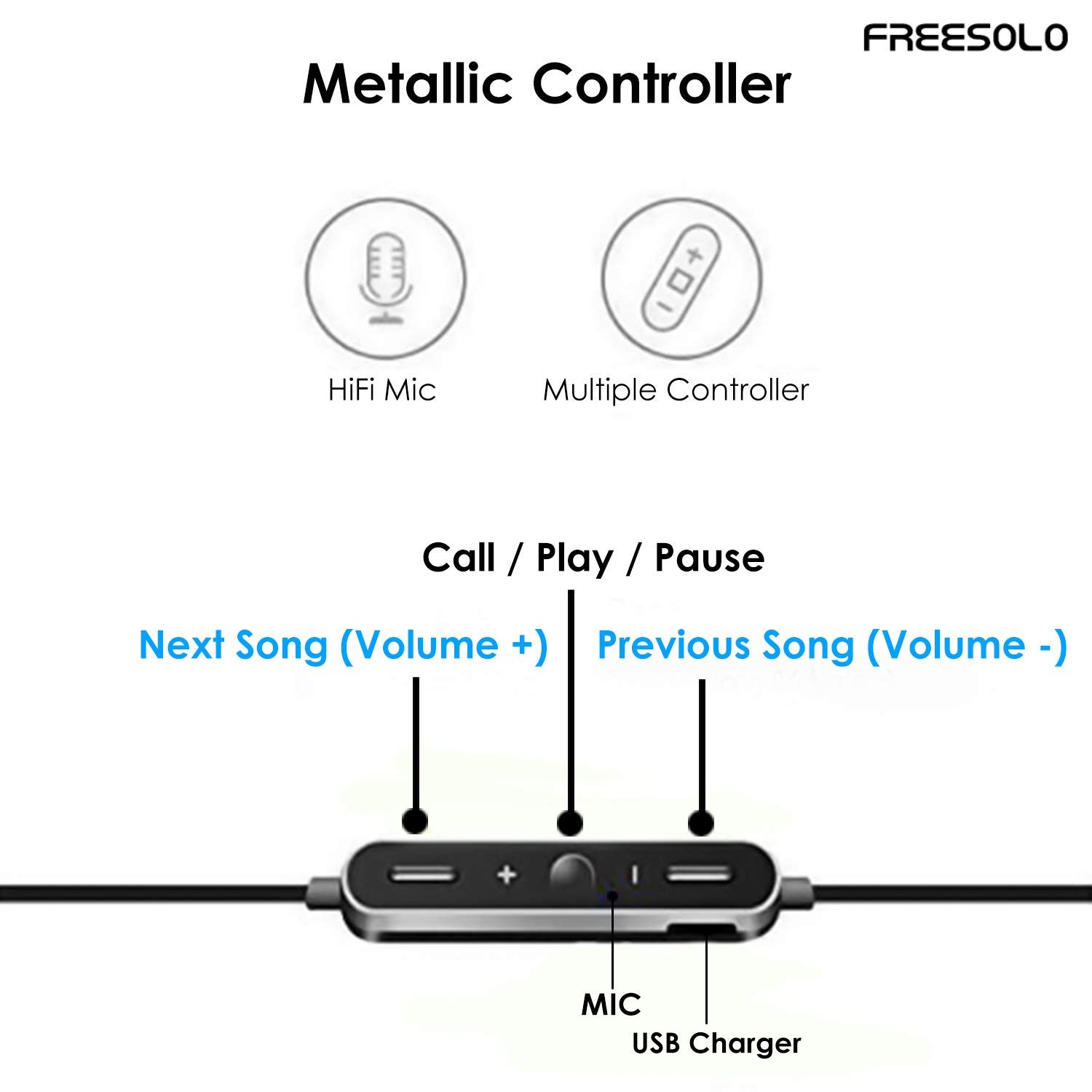Freesolo S8 Wireless Bluetooth 4 1 In-Ear Noice Isolating Headphone with  Mic & Controller (Black)