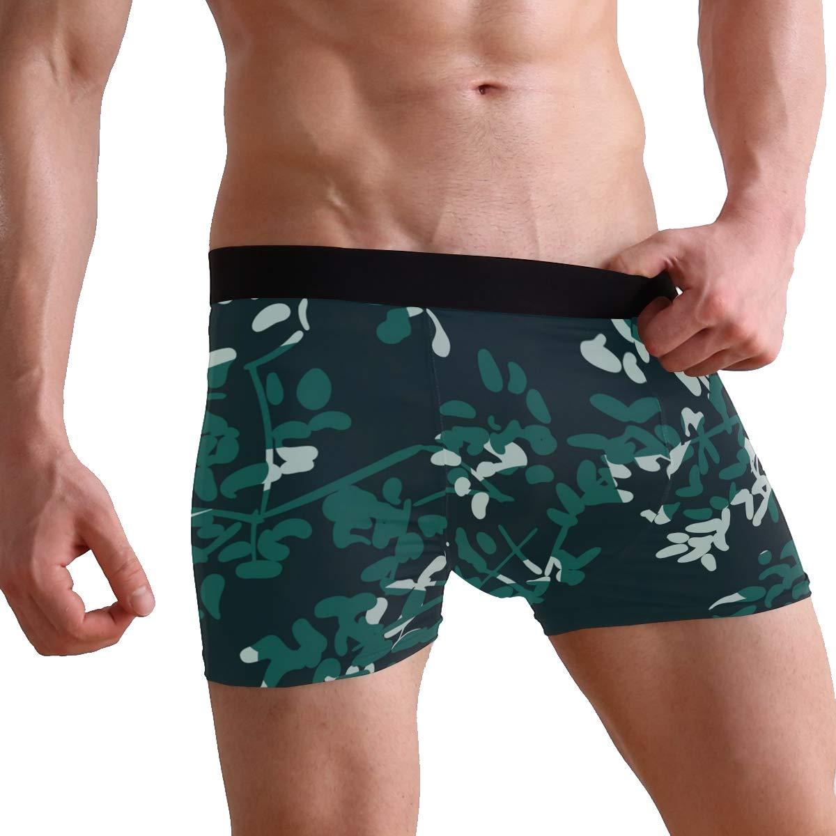 HULKBIDBV Mens underwearInk Flower Sketch Leaves Polyester